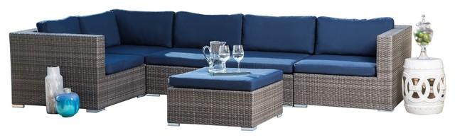Sensational Abbyson Living Shermans Outdoor Wicker Modular Patio Sectional Gray Navy Alphanode Cool Chair Designs And Ideas Alphanodeonline