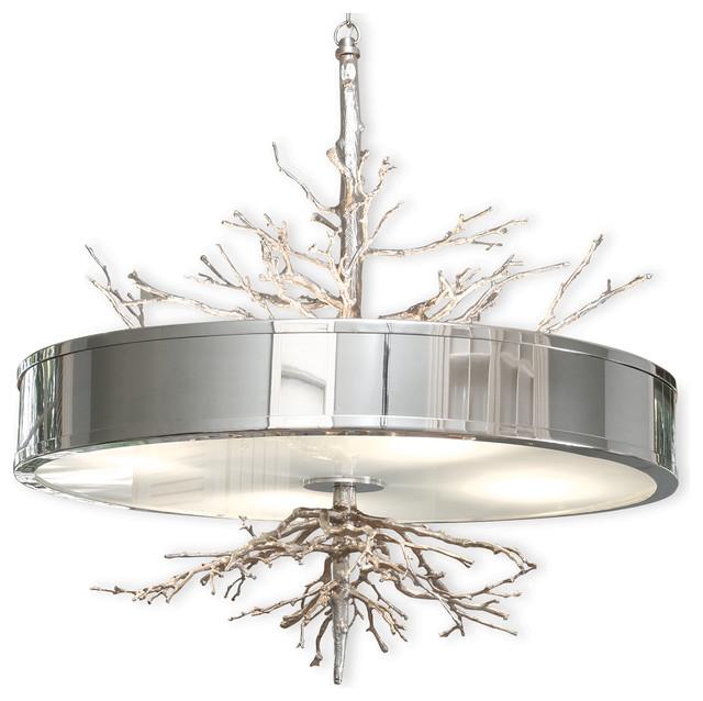 Bijou Tree Branch Hollywood Regency Silver Nickel Ceiling Pendant Lamp Rustic Lighting