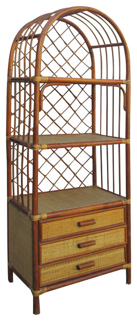 Chinese Antique Bamboo Rattan Face Hand Made Bookcase Display Cabinet Asian China Cabinets