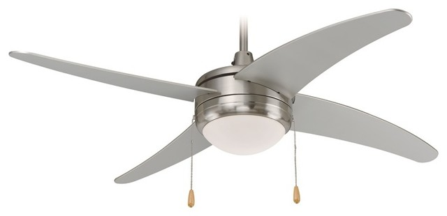 Modern Ceiling Fan, Brushed Nickel With Light Kit.