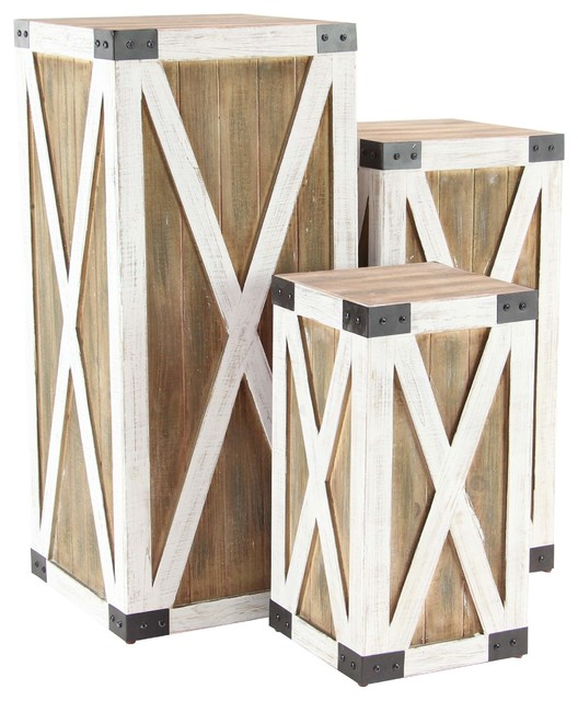 Farmhouse Wood And Iron Crate Pedestals, 3-Piece Set.