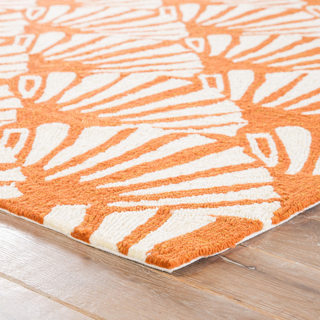 Jaipur Living Mollusk Indoor Outdoor Geometric Orange Cream Area Rug