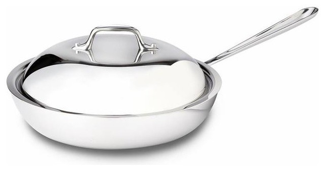 """All-Clad 41117 Stainless 11""""; French Skillet With Lid."""