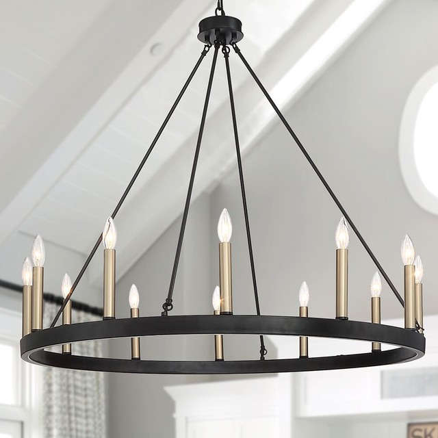 Farmhouse Vintage Wagon Wheel 12-Light Chandelier