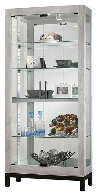 Silver Reclaimed Finish Two Glass Door Curio Cabinet