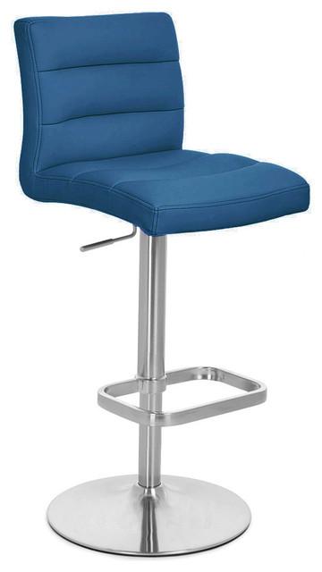 Lush Adjustable Height Swivel Armless Bar Stool, Dark Blue