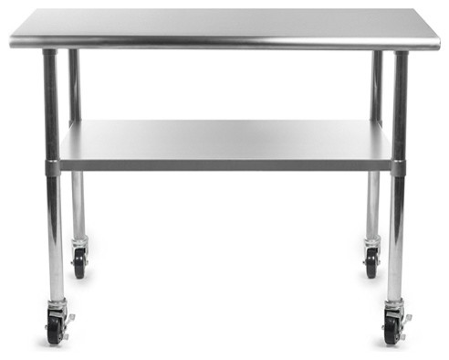 Stainless Steel 48 X 24 Inch Kitchen Prep Table With Casters