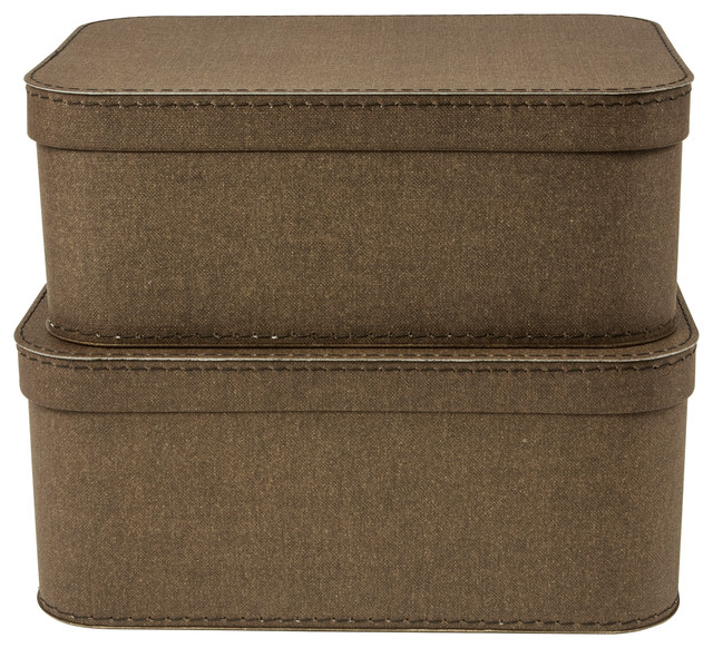 Love Set Of 2 Nested Lidded Boxes Canvas, Dark Brown.