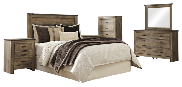 Ashley Trinell 6 Piece Bedroom Set Panel Headboard Brown Rustic Bedroom Furniture Sets By