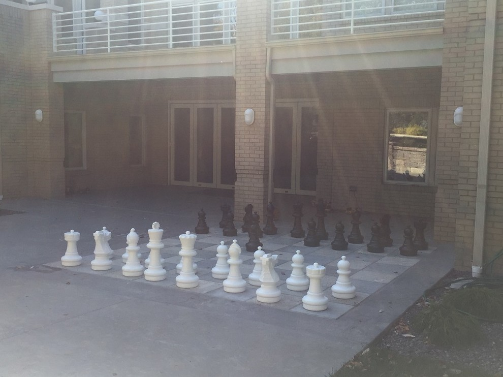 Ladue, Missouri Limestone Masonry Chess Board on Patio