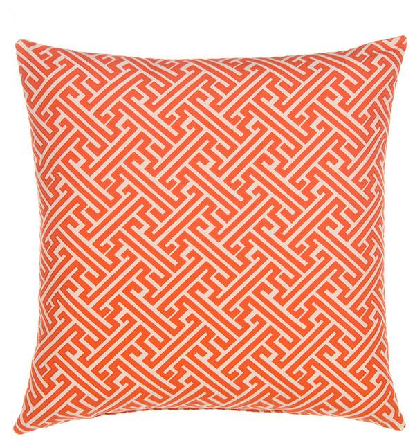 Greek Key, Burnt Orange/Tan Linen