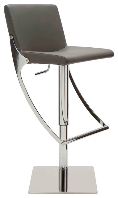 Pleasing Swing Adjustable Bar Stool Modern Contemporary Barstool Faux Leather Gray Ibusinesslaw Wood Chair Design Ideas Ibusinesslaworg
