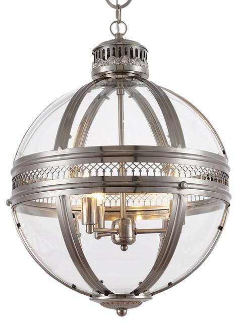 "Victorian Hotel 3-Light 18"" Satin Nickel Pendant Light, With Led Bulbs."