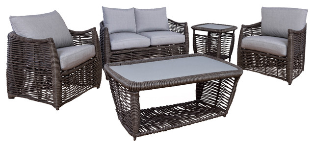 Michael Anthony Amalfi 5 Piece Outdoor Wicker Patio Set Tropical Outdoor