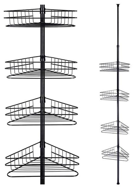 Yescom 4 Tier Metal Bathroom Telescopic Corner Shower Shelf Caddy Pole Wall Rack Storage Organizer Soap
