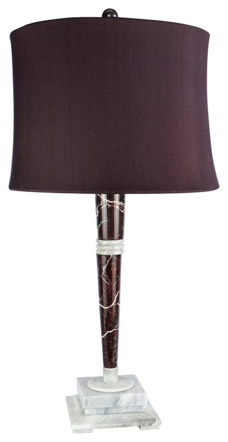 "32"" Tall Marble Table Lamp ""Mercury"", Red Zebra and Alabaster"