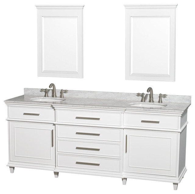 Wyndham Collection 80 Berkeley White Double Vanity And Carrera Marble Top