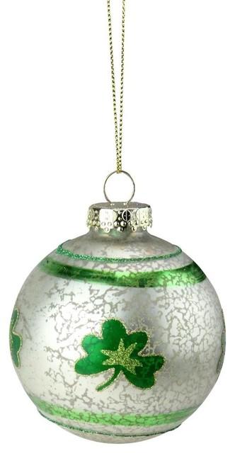 3 5 Green And White Mercury Glass Shamrock Glass Christmas