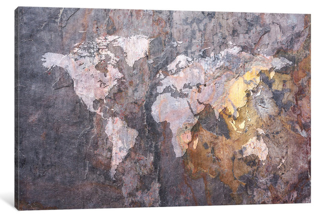 """World Map On Stone Background"" Wrapped Canvas Print, 40x26x1.5"