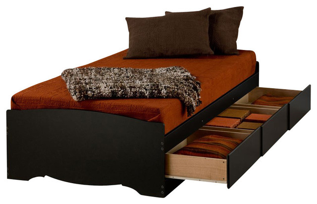 Twin Xl Platform Bed With Drawers, Black.
