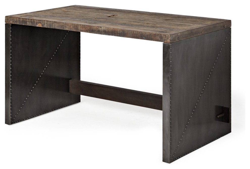 Korbin Office Desk Rustic Wood Top And Metal Cladded Sides