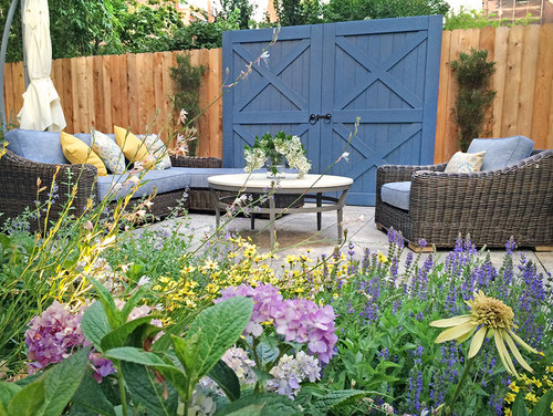 The Blue Barn Door Serves As A Folly Within Garden Classical Landscape Element Defines Lounging Space And Creates Unique Focal