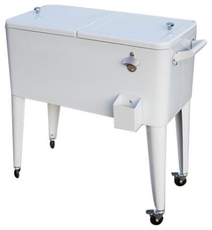 Rolling Patio Cooler, White, 80 Qt..