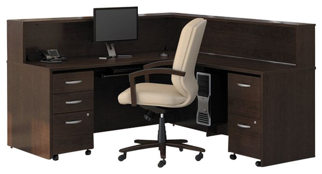Bush Series C 5-Piece L-Shape Reception Computer Desk in Mocha ...