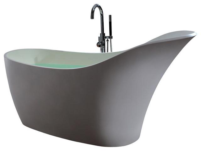 """Adm Slippered Freestanding Bathtub, Matte White, 66.7""""."""