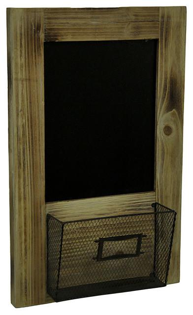 Single Pocket Wood Framed Chalkboard And Metal Basket Wall