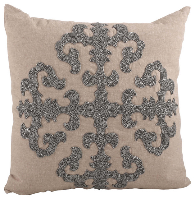 Decorative Pillows Down Filled : Fenncostyles.com - Ingrid Beaded Medallion Down Filled Throw Pillow & Reviews Houzz
