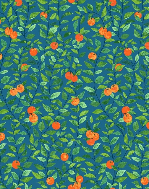 Orange Crush by Nathan Turner, Cadet Blue - Farmhouse - Wallpaper - by Wallshoppe