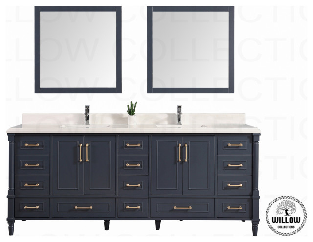84 Aberden Hale Navy Blue With Beveled White Quartz And Square White Basin Transitional Bathroom Vanities And Sink Consoles By Willow Bath And Vanity Llc Houzz