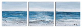 """Calm Waves"" Hand Painted Canvas Art, 60""x20"""