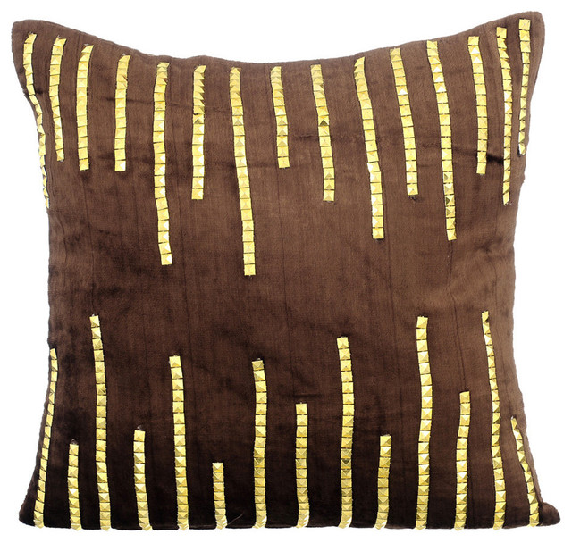 40D Sparkly Sequins 40x40 Velvet Brown Pillows Cover Gold Jeweled Unique Jeweled Decorative Pillows