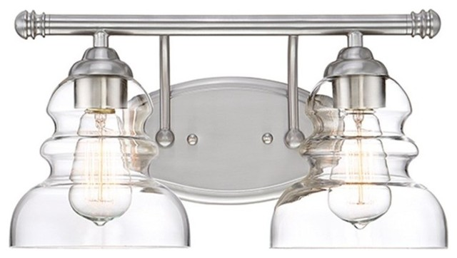 Millennium Lighting 2-Light Vanity Light, Satin Nickel, Clear, 7332-SN