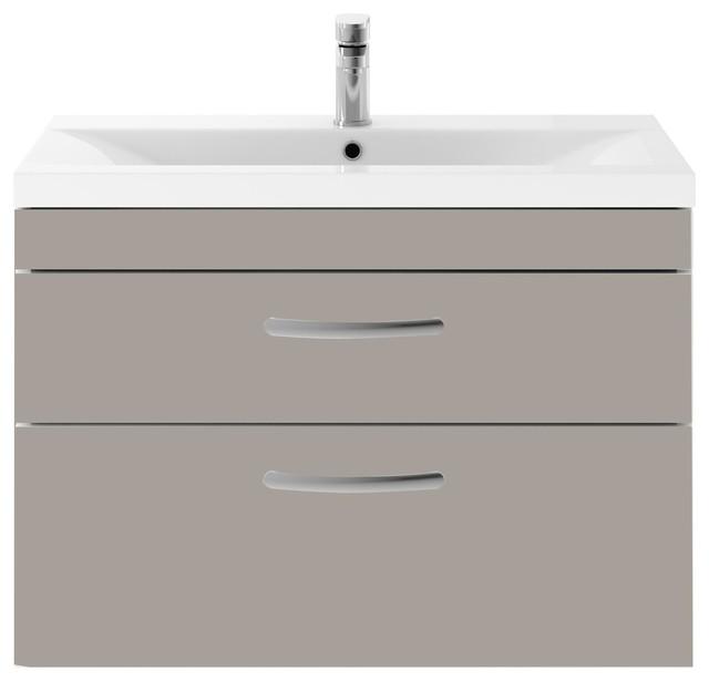 Wall-Hung Bathroom Vanity Unit, Stone Grey, 2 Drawers, Wide Rim Basin, 80 cm