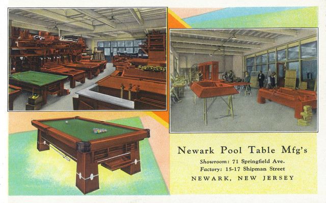 Newark New Jersey Interior Views Of Newark Pool Table Manufacturers Print Traditional