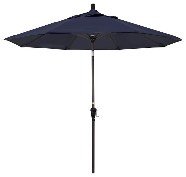 9&x27; Aluminum Market Umbrella Auto Tilt Bronze, Pacifica, Navy Blue.