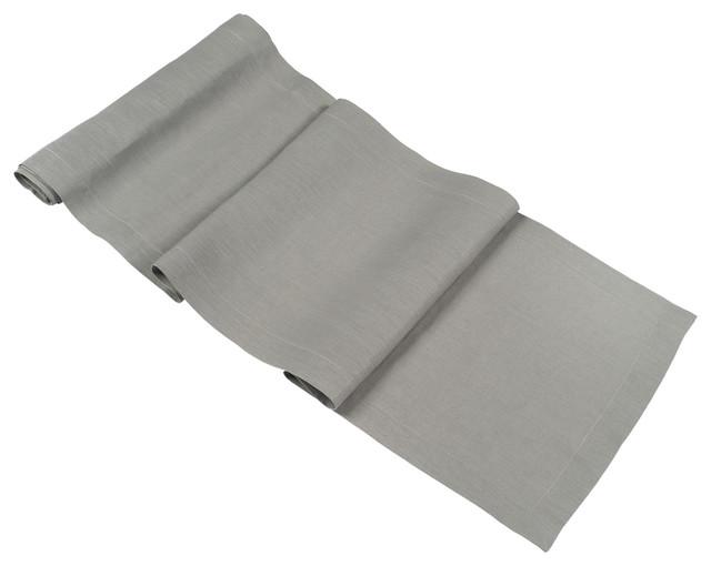 Superieur Silver Grey Linen Table Runner 14x90