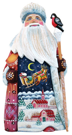 Up Up And Away Santa, Woodcarved Figurine.