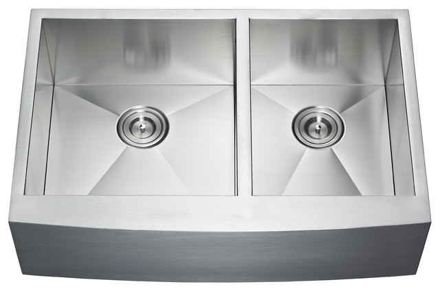 "Apron Double Bowl Sink, 33""."