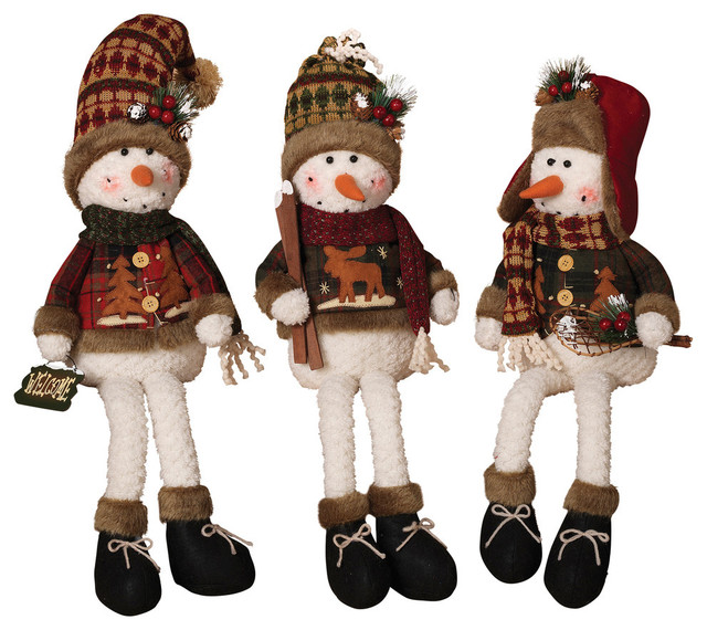 Plush Snowmen Shelf Sitters, Set Of 3.