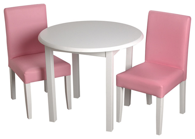 Gift Mark Childrens White Round Table With 2 Pink  : contemporary kids tables and chairs from www.houzz.com size 640 x 456 jpeg 35kB