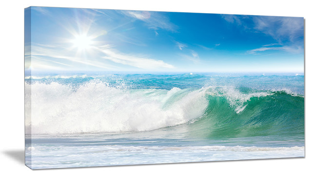 """""""white And Blue Waves Under Sun"""" Canvas Print."""