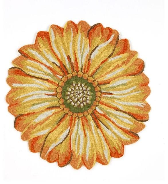 Liora Manne Frontporch Sunflower Indoor/outdoor Rug, Yellow, 5&x27; Round.