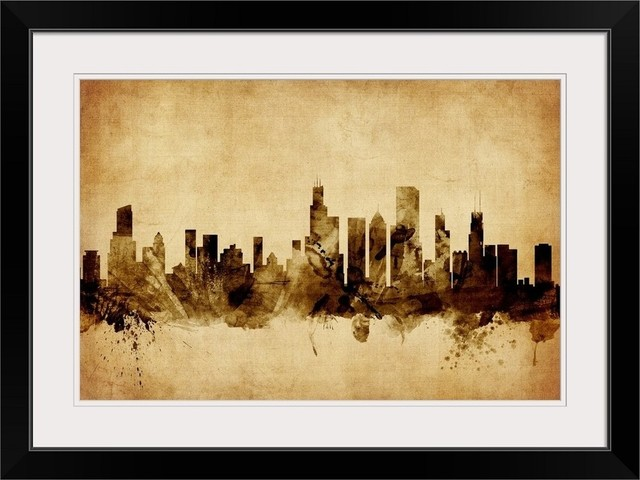 Chicago Illinois Skyline Black Framed Art Print 32 X24 X1