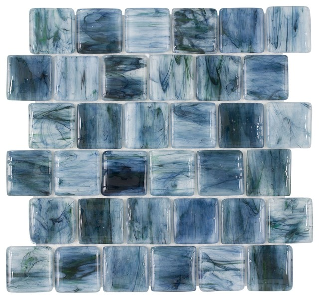 MTO0115 Pillowed Squares Blue Black Green Glossy Translucent Glass Mosaic Tile by Mosaic Tile Outlet
