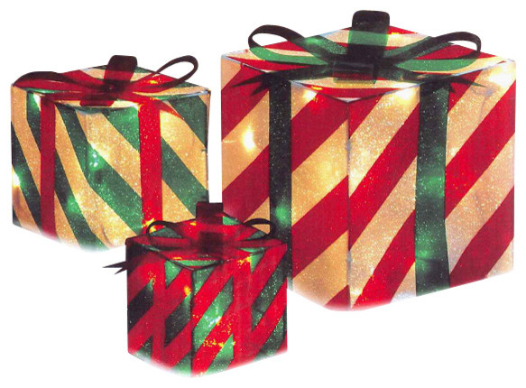 3 piece striped gift box christmas yard decoration set Traditional outdoor christmas decorations