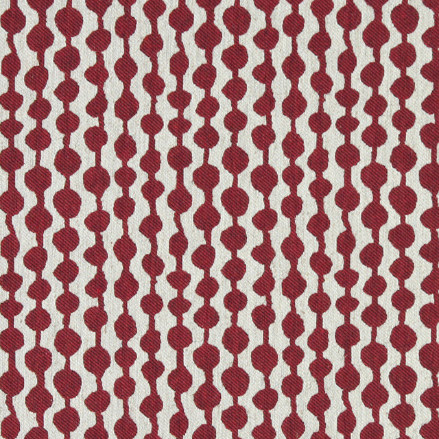 Red And Off White Circle Striped Linen Look Upholstery Fabric By The